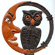 REDUCED Small cardboard Crescent Moon Man & Owl Halloween decoration German 1920s