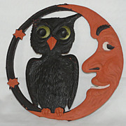 SALE LARGE Crescent Moon and Owl heavily embossed die cut - Germany 1920s