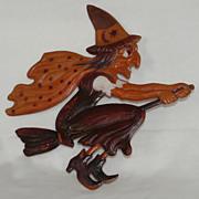 SALE Large Flying Witch on broom German cardboard die cut  Halloween decoration 1920's