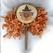 REDUCED Witch Face Halloween Drum Shaker Noisemaker Halloween Decoration Germany 1920s