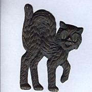 SALE Small cardboard Black Cat Halloween decoration German 1920s Right face
