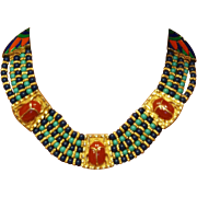 SALE Egyptian Revival Scarab Choker Necklace hard to find! Hattie Carnegie Egyptian Revival se