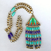 REDUCED Hattie Carnegie Egyptian Revival Lotus flower pendent necklace – 1960's