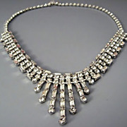 SALE Beautiful Chocker Necklace brilliant Diamante white rhinestones with baguettes - Hattie .