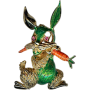 REDUCED Vintage Hattie Carnegie Whimsical Bunny Rabbit Brooch Pin 1970's