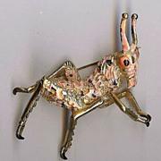 REDUCED Vintage Hattie Carnegie figural Grasshopper Brooch Rare!