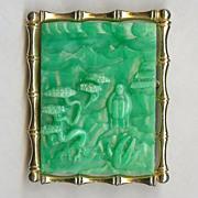"""REDUCED Hattie Carnegie """"Asian Garden"""" faux Jade Brooch/Pendant Very Nice!"""