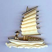 SALE Hattie Carnegie Brooch- Oriental junk/boat – 1960s Excellent