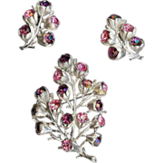 REDUCED Vintage Sarah Coventry Wisteria Brooch and matching earrings Pink & Purple Rhinest