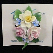 SALE Fine English bone china brooch, lovely bouquet flowers mint condition!
