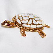 REDUCED Trifari 'Modern Mosaics' Poured Glass White Turtle Brooch – designer 'Alfred Philipp