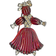 SALE Ruby red colored Rag Doll Brooch – Pom Pom designed by Alfred Philippe †...