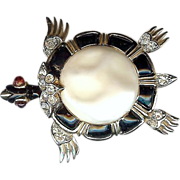 REDUCED Trifari Ming series – Black and Pearl Belly Turtle brooch - Alfred Philippe designer