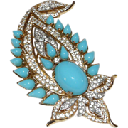 "REDUCED Magnificent ""Jewels of India"" Paisley style Brooch – Designed for Trifari Compan"