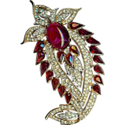 "SALE Magnificent ""Jewels of India"" Paisley style Brooch Ruby red colored stones – ..."