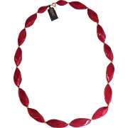 SALE Modernist Red and Gold accent bead Necklace Trifari 1970's