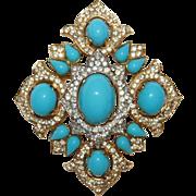 SALE Magnificent Jewels of India Crown Trifari Brooch Designer Alfred Philippe Rare! – Jewel