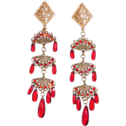 SALE Beautiful extra Long Red & Gold Plated 4 ¼ inch Shoulder Dusters Earrings Trifari Compan