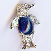 SALE Trifari 'Alfred Philippe' Miniature Sapphire Cabochon Belly Penguin Pin