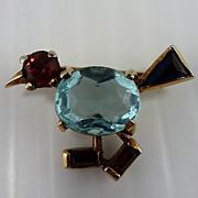 REDUCED Trifari 'Alfred Philippe' Miniature Walking Bird Pin – 1940's