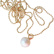 """SOLD Italian Vermeil 30""""Chain with freshwater Cultured  Pearl Pendant"""