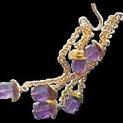 SOLD Amethyst Long Chain Duster Earrings