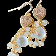 SOLD Moonstone and Druzy Quartz Gemstone Cluster Earrings