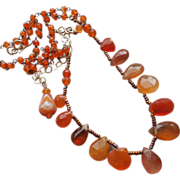 SOLD Orange Fire Opal and Carnelian Necklace