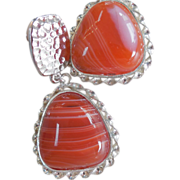 SOLD Orange Agate Clip Statement Earrings