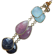 SOLD Sapphire and Chalcedony Triple Drop Post Earrings