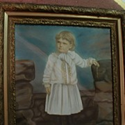 """30 3/4"""" x 26 5/8"""" Framed Antique Hand Colored Photo"""