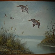 Wildlife Ducks Landscape Oil Painting