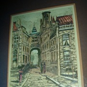 Colored Etching Old City Street Scene