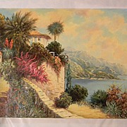 "SALE 20"" x 28"" Unframed Oil On Canvas  Peaceful Seaside  by Artist Rofini"