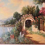 "Rofini 20"" x 28"" O/C Mediterranean Villa painting"