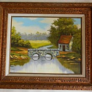 SALE Oil on Canvas Peaceful Stone Bridge over Water Landscape signed. FREE USA SHIPPING!