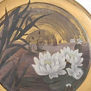SALE Signed M P Water Lily Artwork Painting  on Brass / Tin. FREE USA SHIPPING!