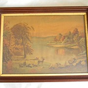 SALE Large Chromolithograph in  Walnut Frame .
