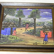 SOLD RoRo signed Oil on Canvas Native Village Scene
