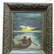 Oil on Canvas Row Boat  Seascape