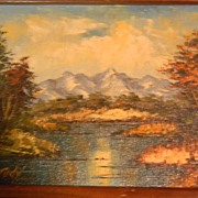 Mountain Lake Landscape Oil Painting