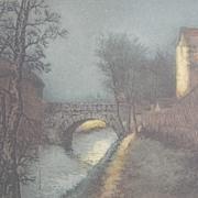 Landscape Bridge over Water Etching