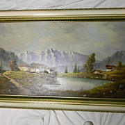 "Carlo Mancini . 55"" x 31"" Framed Oil on Canvas Landscape"