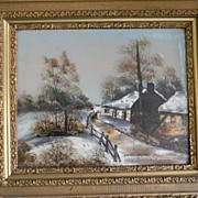"""16"""" x 20"""" Reverse Glass Painting """"Winter in Holland"""" . Ornate 28"""" x 2"""