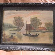 SALE Older Oil Painting Landscape / Sailboat . FREE USA SHIPPING!