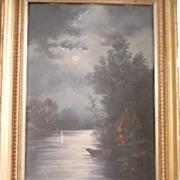 SALE Older Moonlit Hudson River Oil Painting . FREE USA SHIPPING!