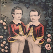 """ Little Brothers "" Currier & Ives Original print , Framed"
