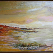 """SALE Pat Kretchmer .  40"""" x 28"""" Framed Oil Painting on canvas . """"Red Tide"""""""