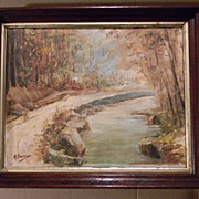 SALE Signed . Vintage Oil on Canvas Painting Landscape. FREE USA SHIPPING!