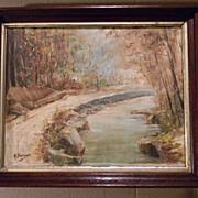 Signed . Vintage Oil on Canvas Painting Landscape